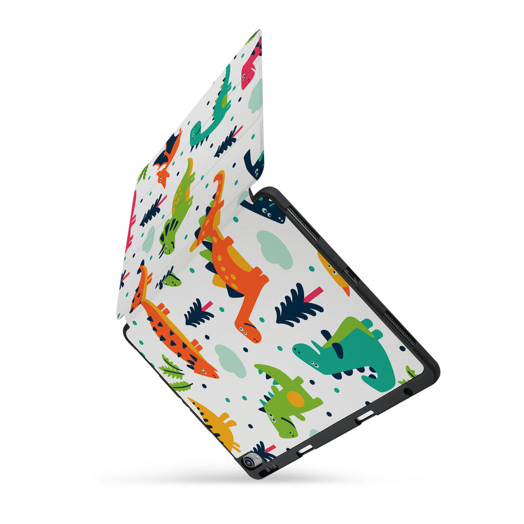 personalized iPad case with pencil holder and Dinosaur design