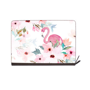front view of personalized Macbook carry bag case with Flamingo design