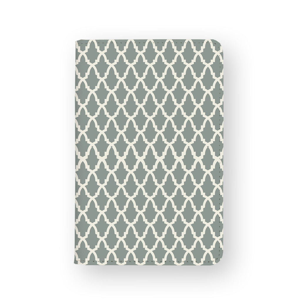 front view of personalized RFID blocking passport travel wallet with Elegant Pattern design