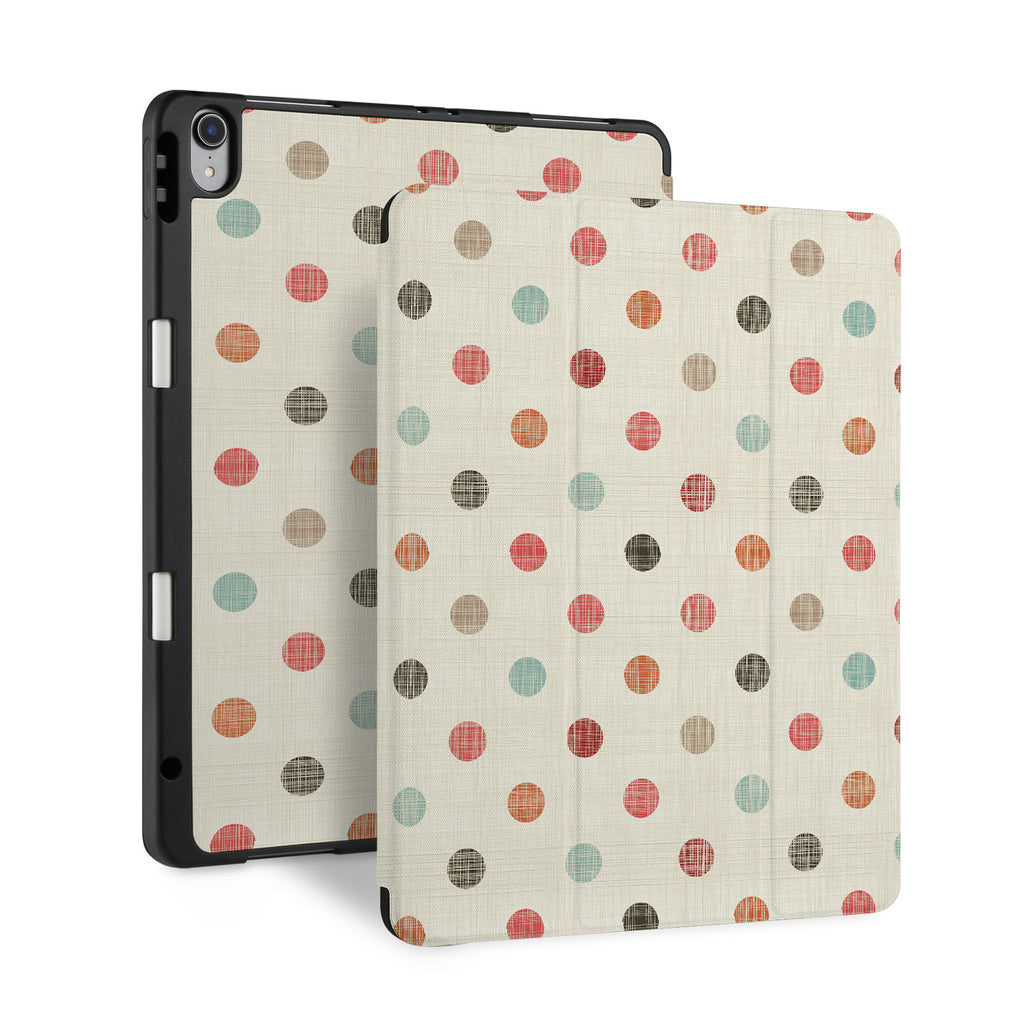 front and back view of personalized iPad case with pencil holder and Faded Fabric design