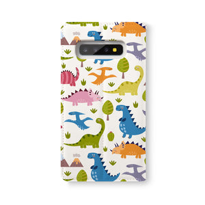 Back Side of Personalized Samsung Galaxy Wallet Case with Dinosaur design - swap