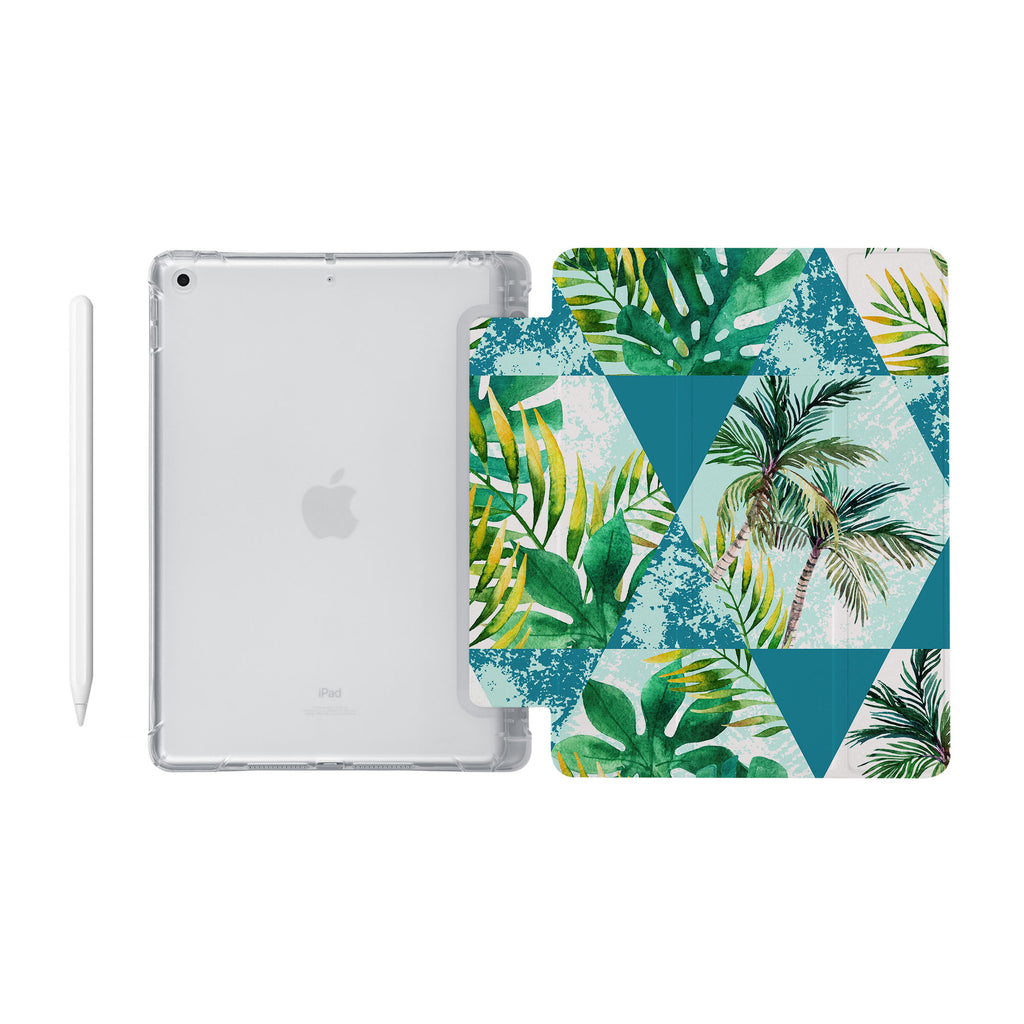 iPad SeeThru Casd with Tropical Leaves Design Fully compatible with the Apple Pencil