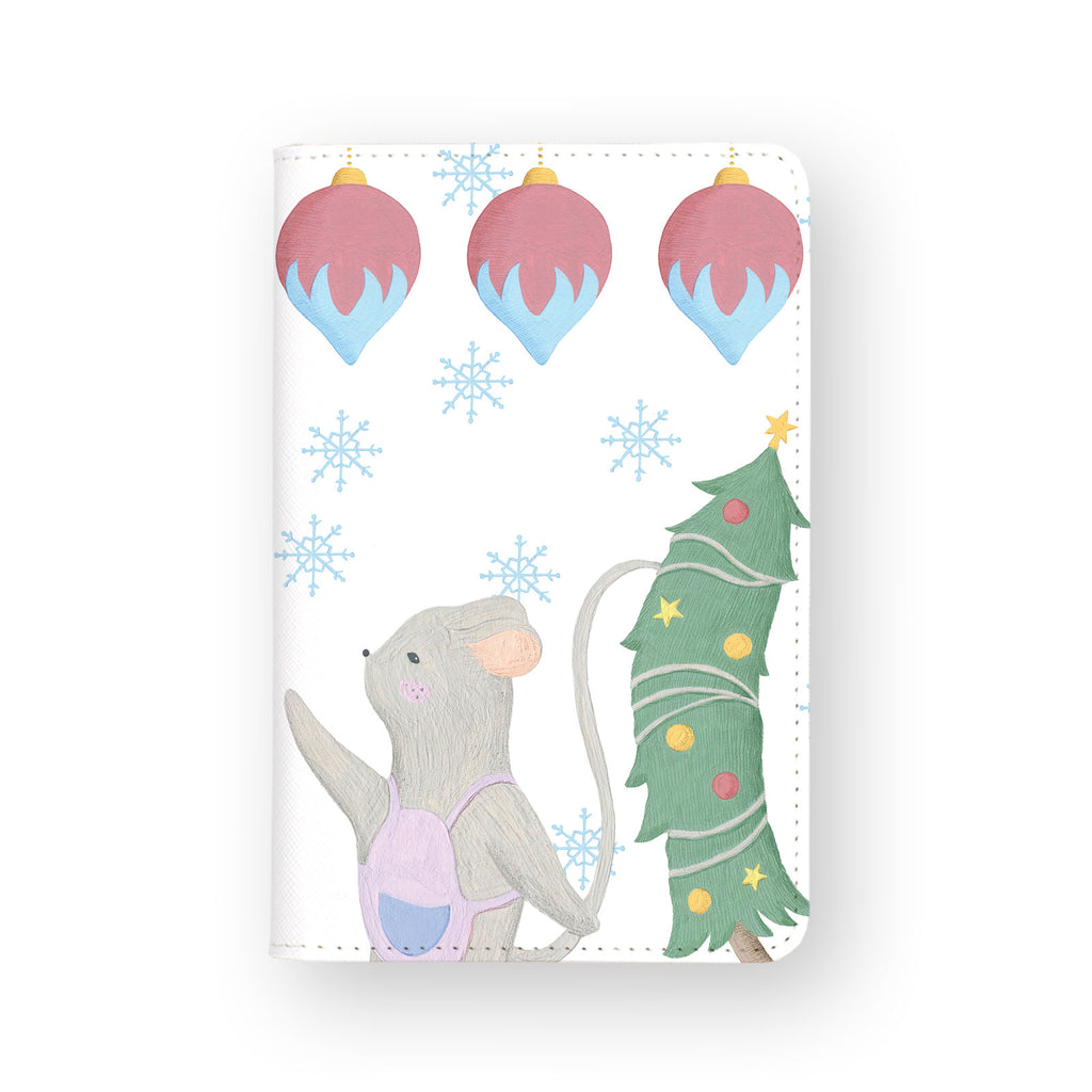 front view of personalized RFID blocking passport travel wallet with Christmas Gouache design
