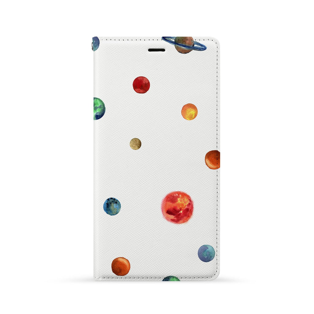 Front Side of Personalized Huawei Wallet Case with Galaxy design