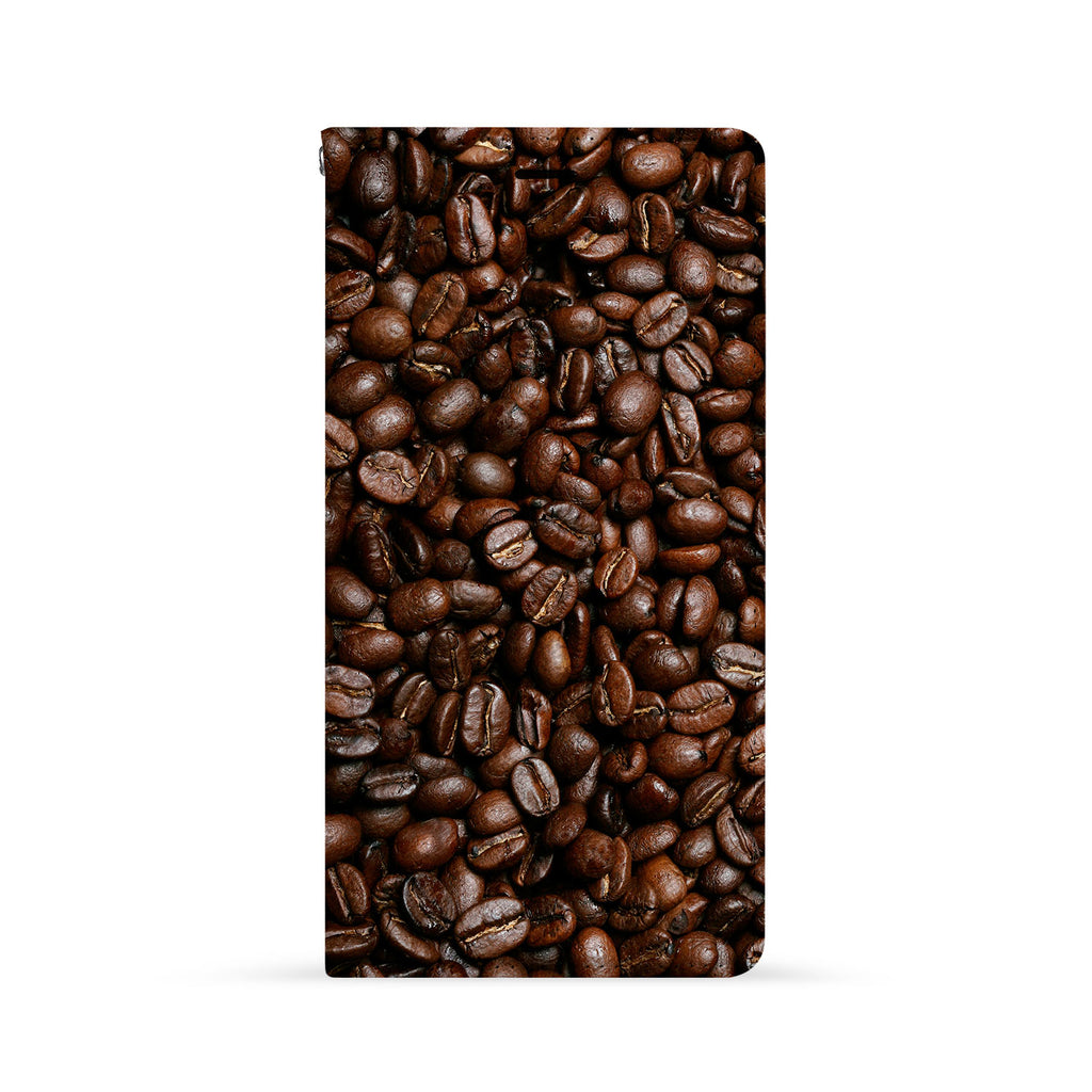 Front Side of Personalized iPhone Wallet Case with Coffee design