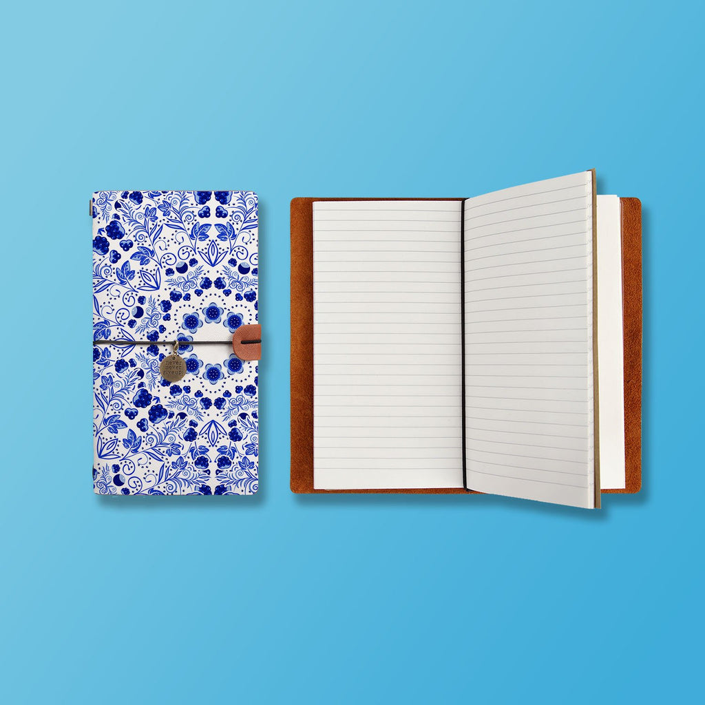 the front top view of midori style traveler's notebook with Aztec Tribal design
