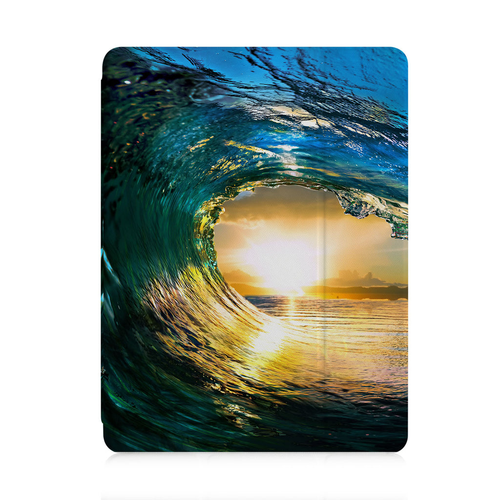 front view of personalized iPad case with pencil holder and Sunrise design