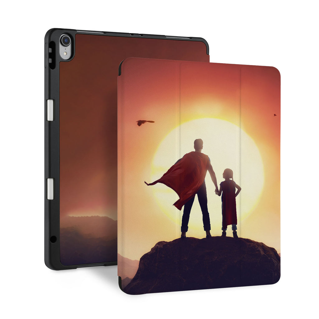 front back and stand view of personalized iPad case with pencil holder and Father Day design - swap