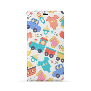 Front Side of Personalized Huawei Wallet Case with Baby design