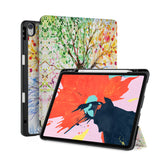 front back and stand view of personalized iPad case with pencil holder and Tree design