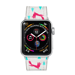 Our Printed Leather Apple Watch Band with Fox Pattern design are made of water- and scratch-resistant saffiano leather because we know you wear your apple watch every, single, day. - swap