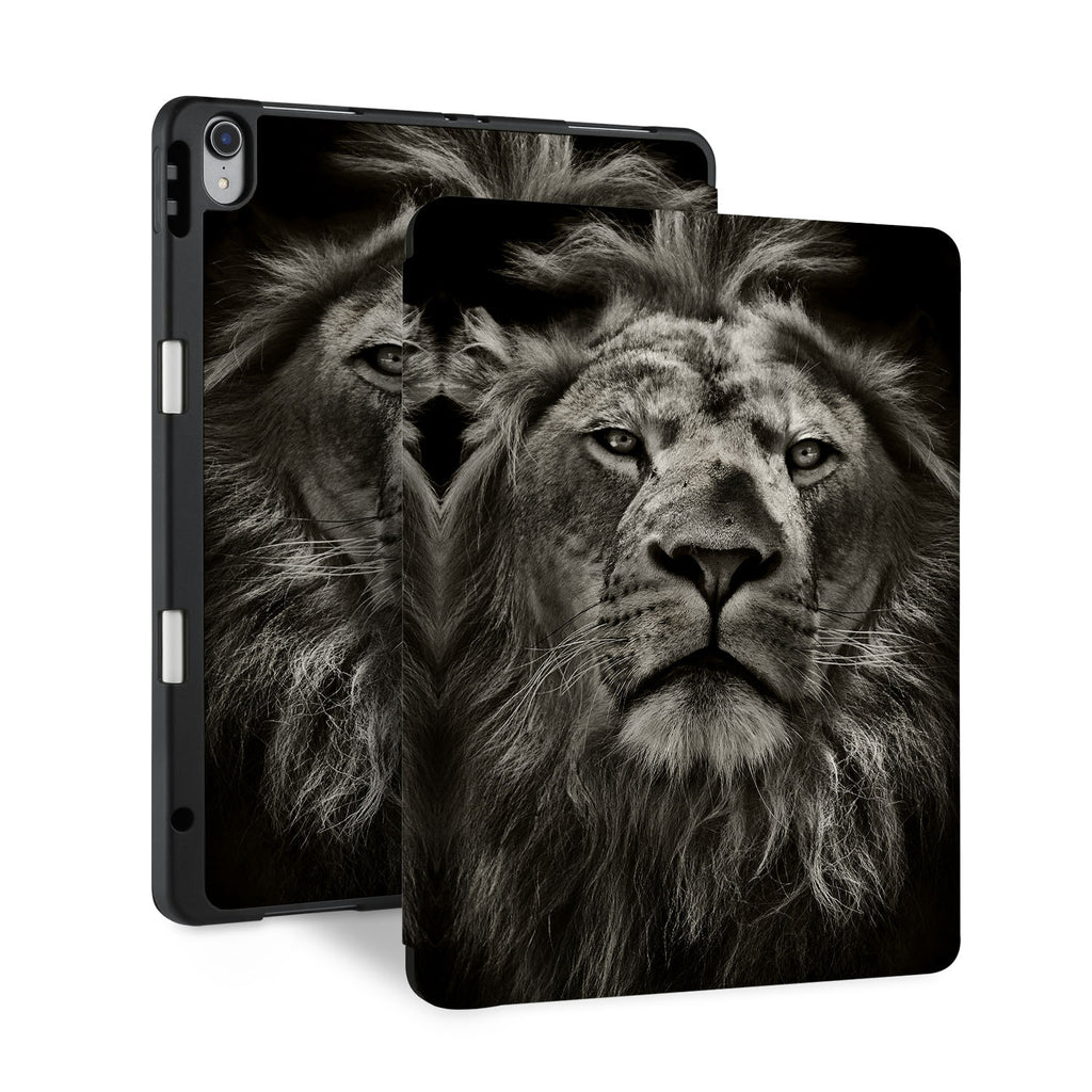 front and back view of personalized iPad case with pencil holder and Black And White design