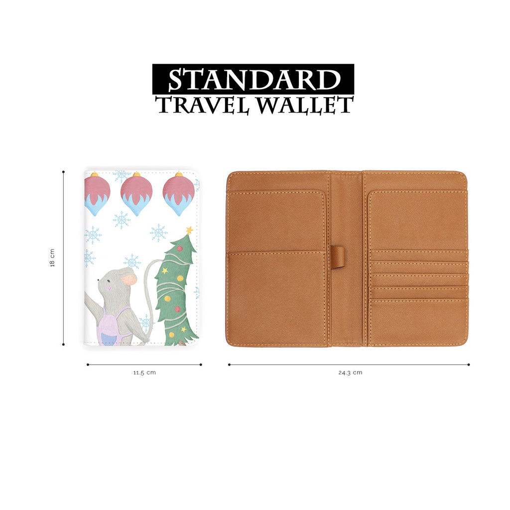 standard size of personalized RFID blocking passport travel wallet with Christmas Gouache design