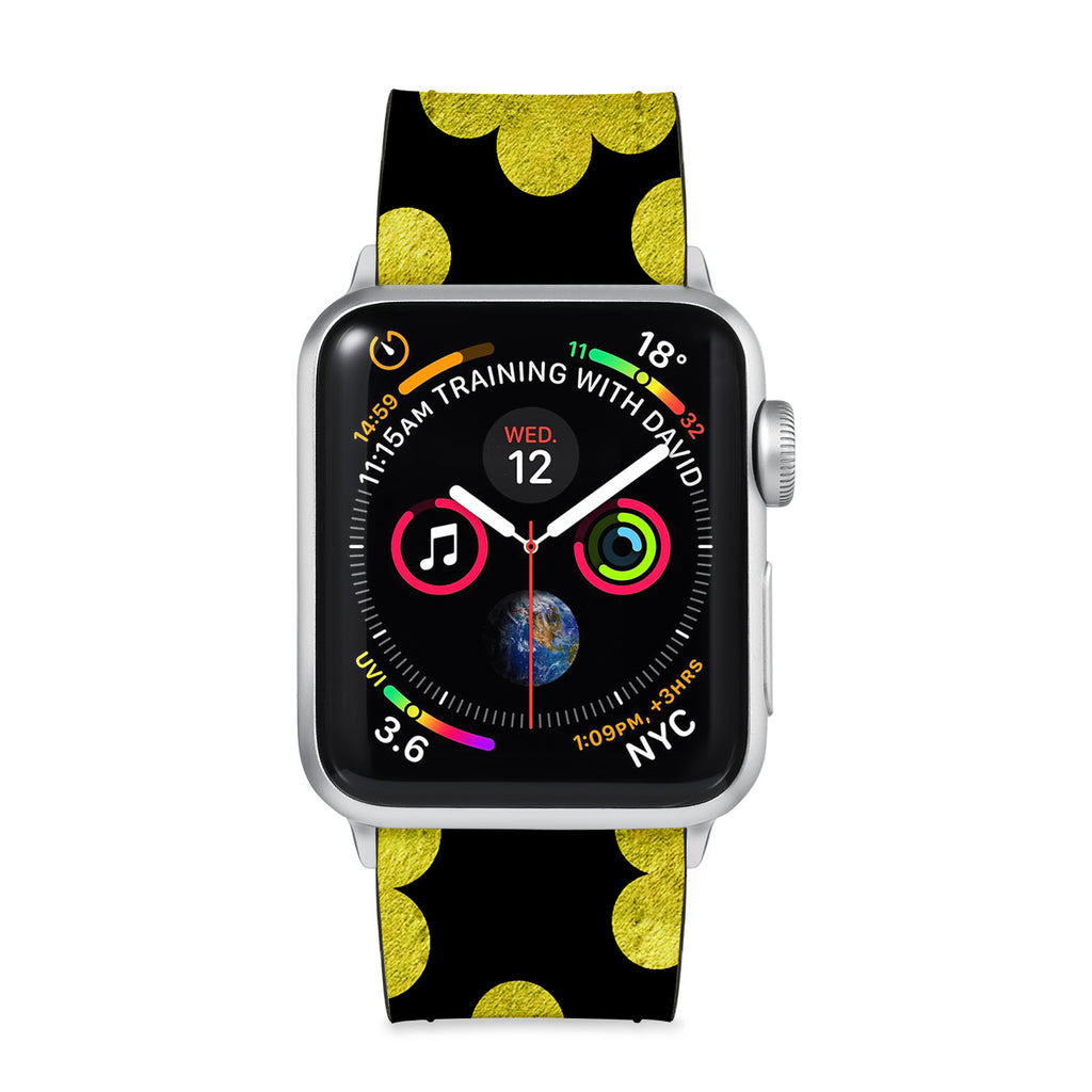 Our Printed Leather Apple Watch Band with Black Gold Pattern design are made of water- and scratch-resistant saffiano leather because we know you wear your apple watch every, single, day. - swap