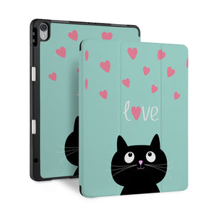 front and back view of personalized iPad case with pencil holder and Cat design