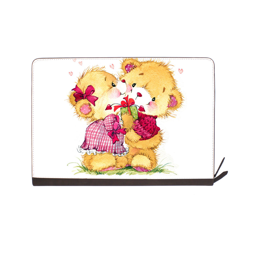 front view of personalized Macbook carry bag case with Bear design