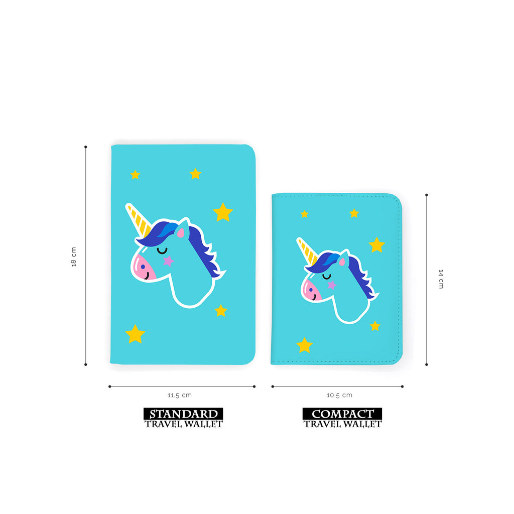 comparison of two sizes of personalized RFID blocking passport travel wallet with Pop Art design