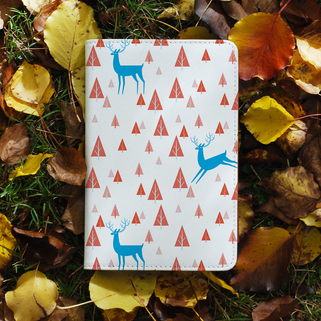 personalized RFID blocking passport travel wallet with Fox And Deer design on maple leafs