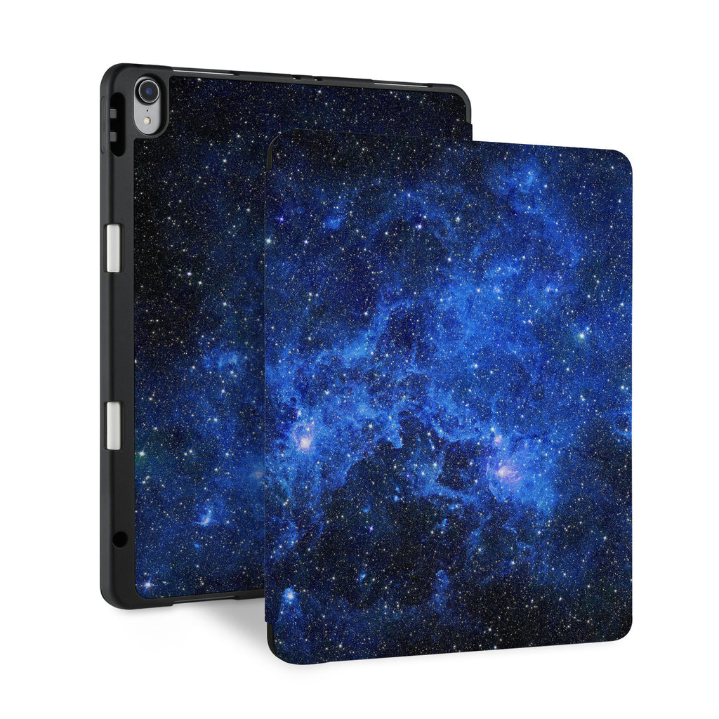 front and back view of personalized iPad case with pencil holder and Starry Night design