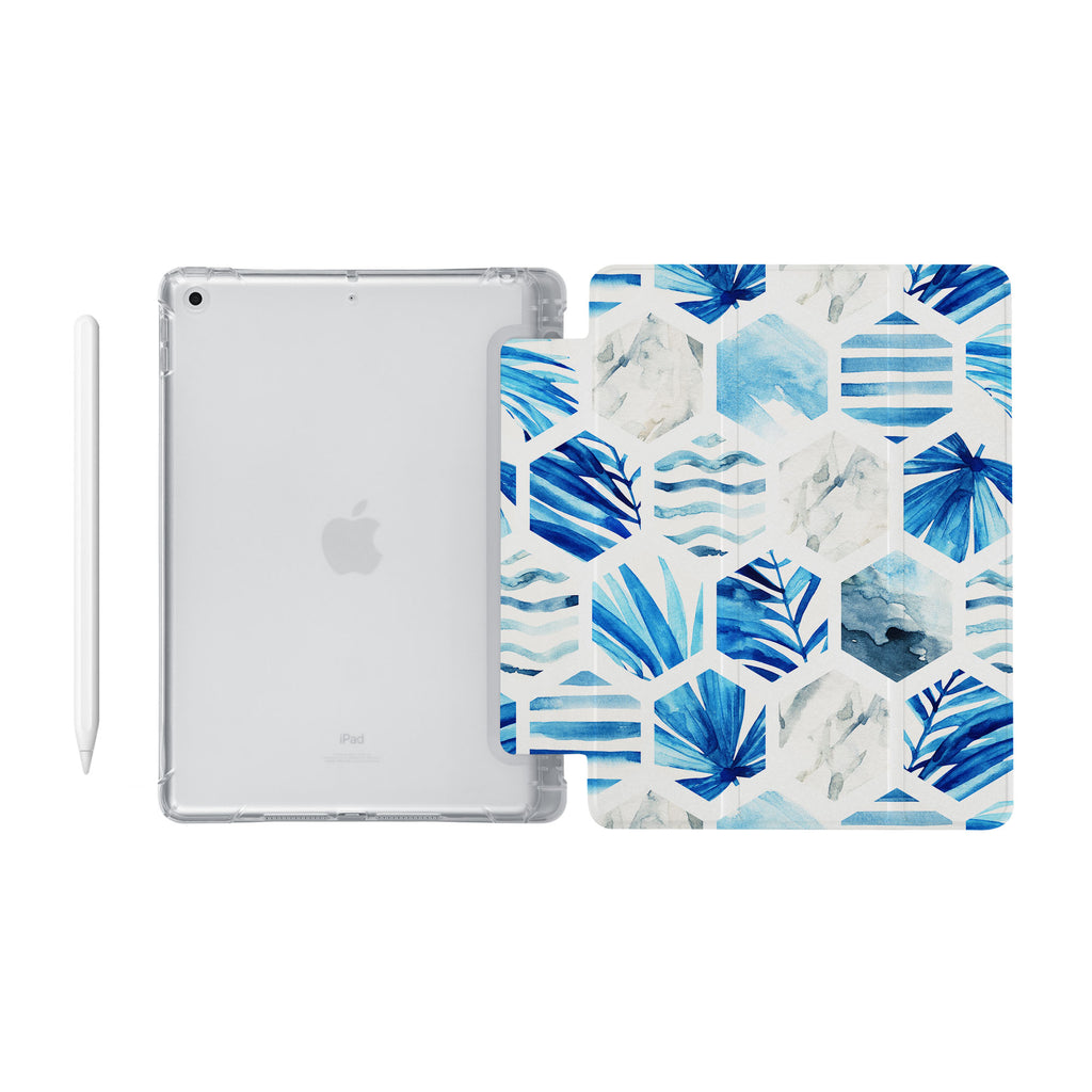 iPad SeeThru Casd with Geometric Flower Design Fully compatible with the Apple Pencil