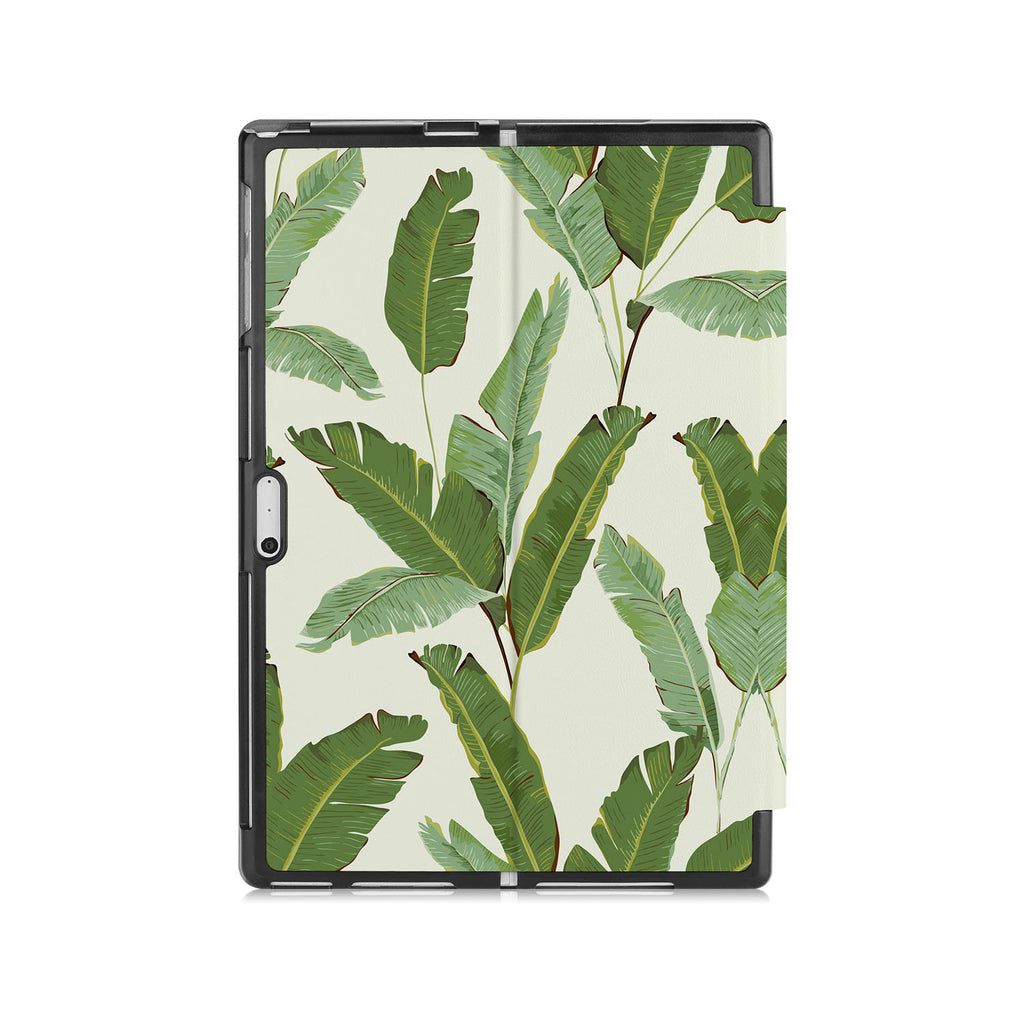 the back side of Personalized Microsoft Surface Pro and Go Case with Green Leaves design