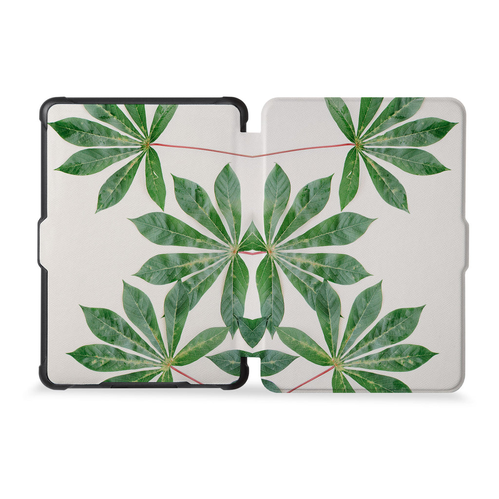 the whole front and back view of personalized kindle case paperwhite case with Flat Flower design