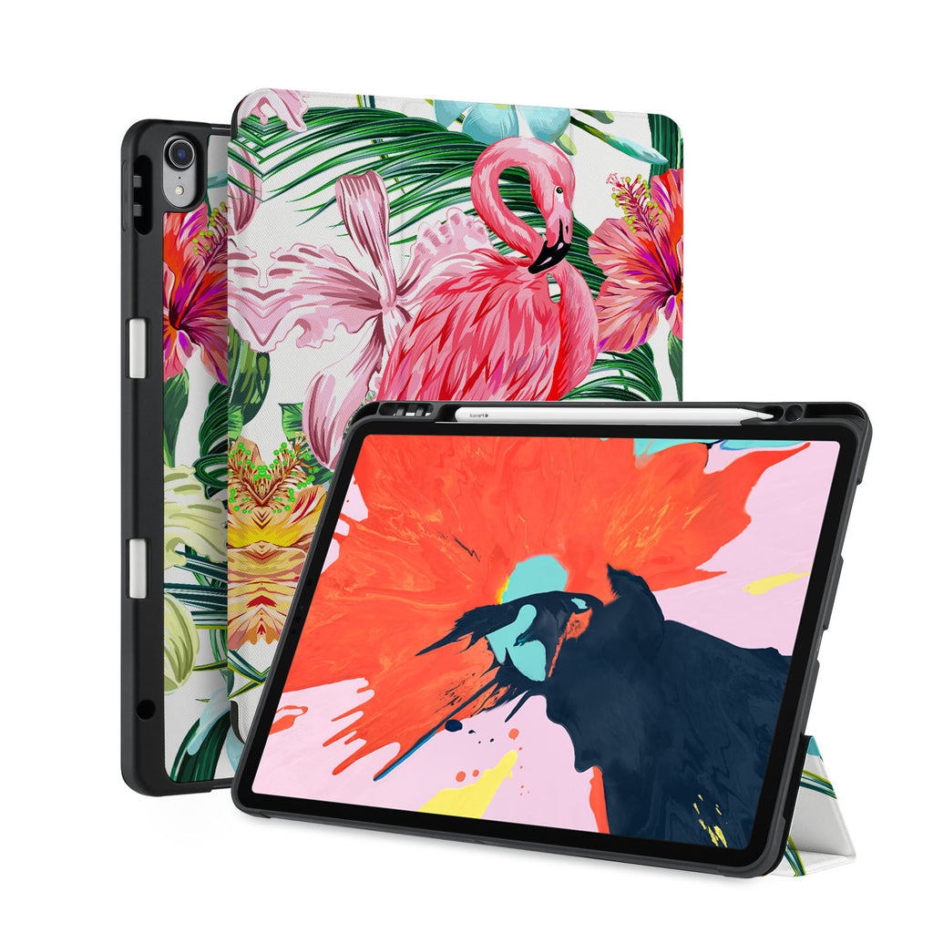front back and stand view of personalized iPad case with pencil holder and Flamingos design