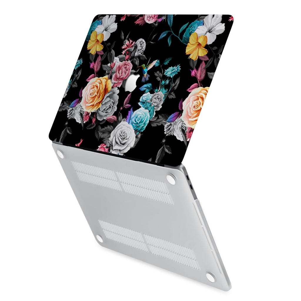 hardshell case with Black Flower design has rubberized feet that keeps your MacBook from sliding on smooth surfaces