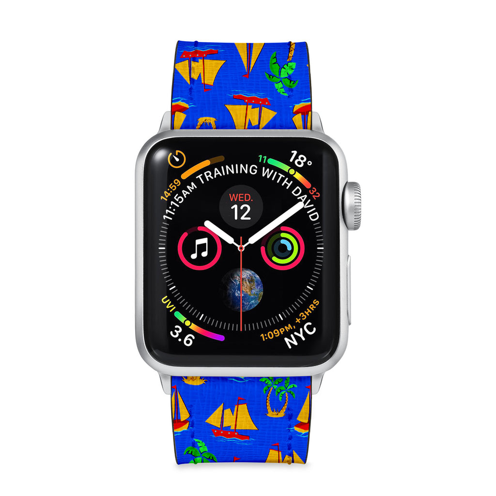 Our Printed Leather Apple Watch Band with Hawaiian design are made of water- and scratch-resistant saffiano leather because we know you wear your apple watch every, single, day. - swap