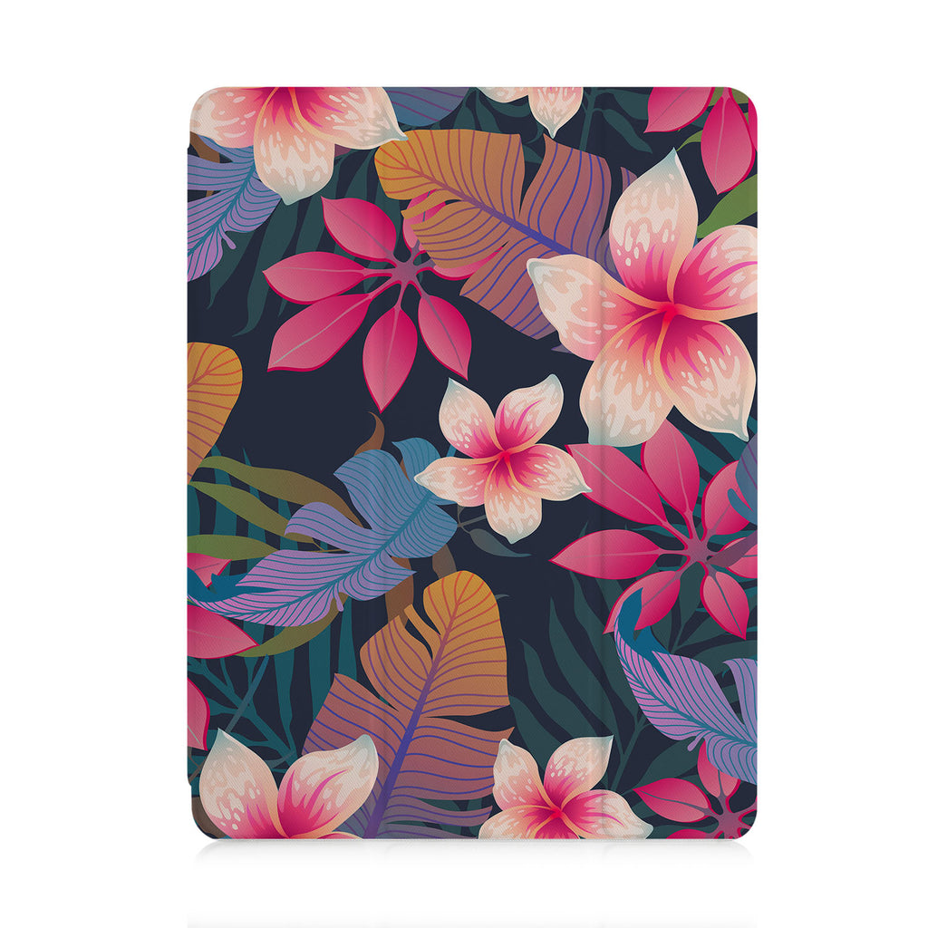 front view of personalized iPad case with pencil holder and Tropical Fantasy design