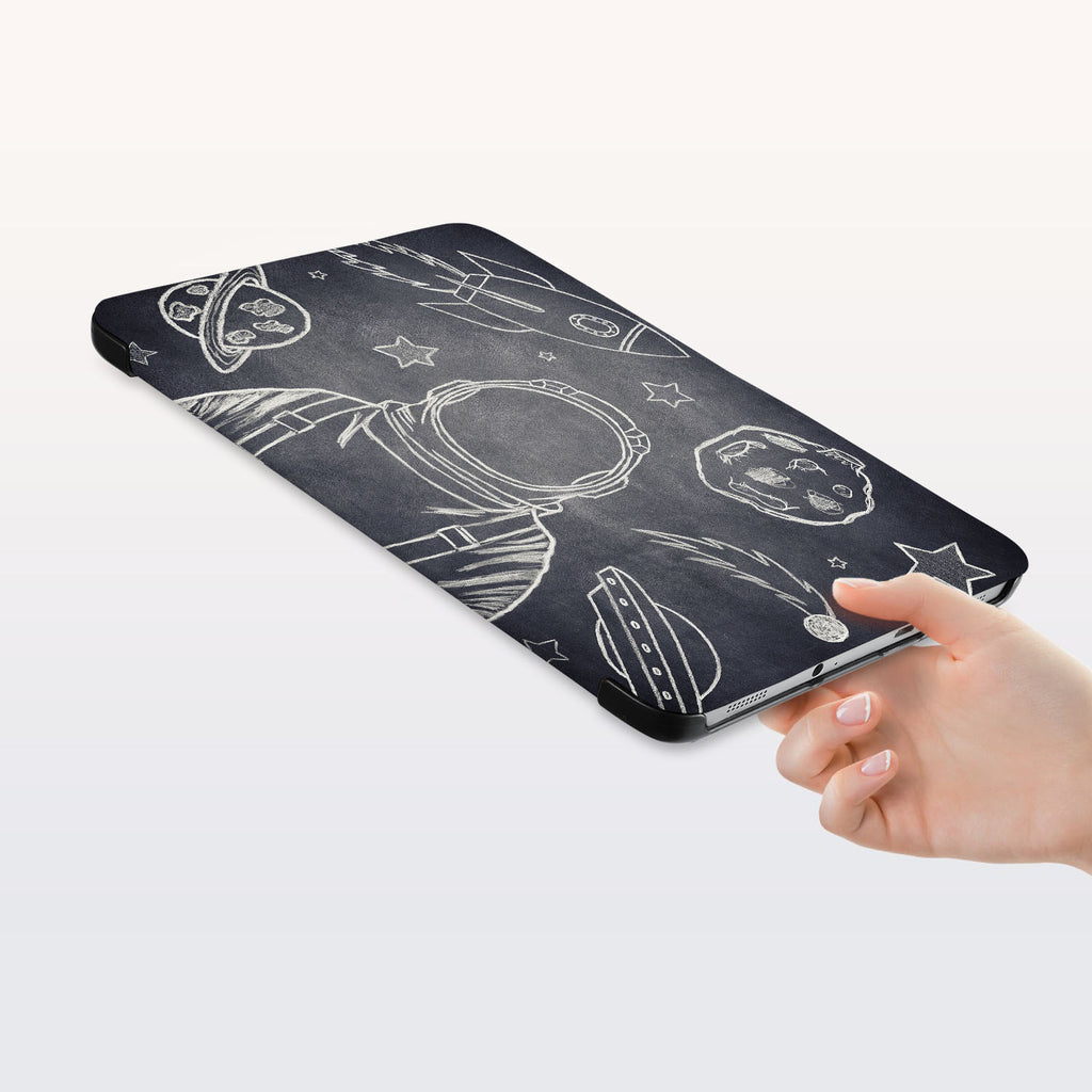 a hand is holding the Personalized Samsung Galaxy Tab Case with Astronaut Space design