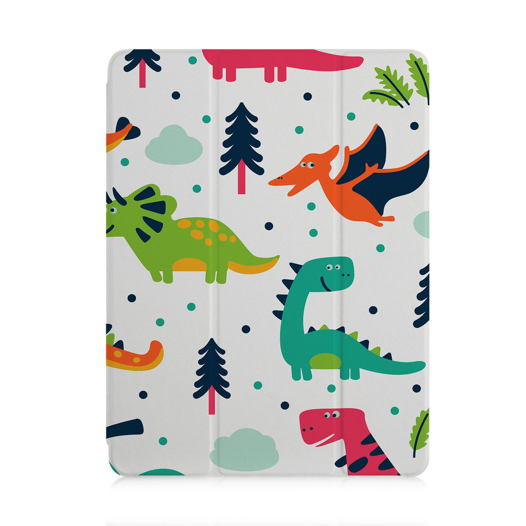 front and back view of personalized iPad case with pencil holder and Dinosaur design