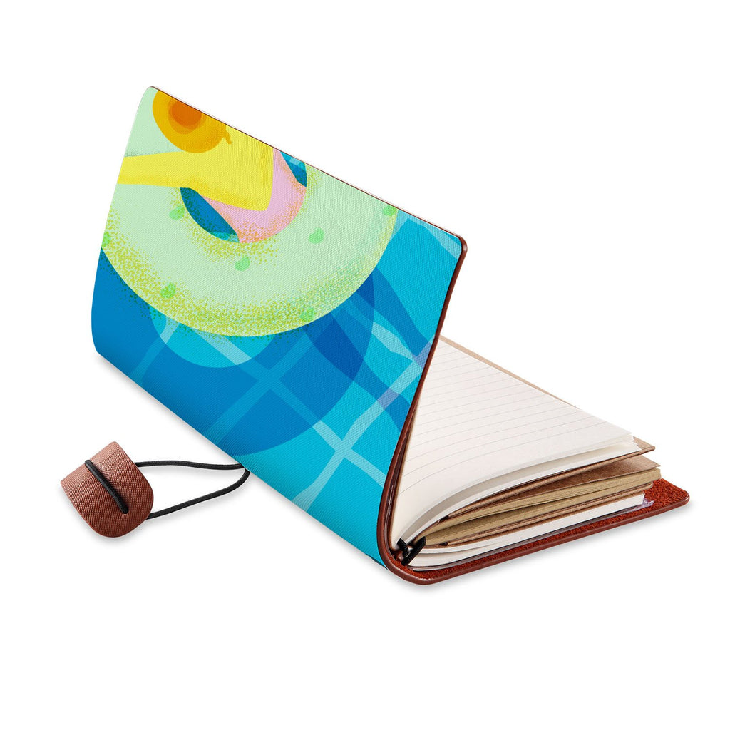 opened view of midori style traveler's notebook with Beach design
