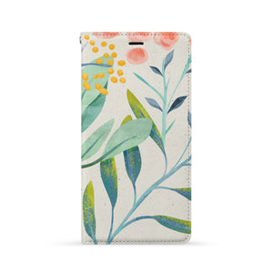 Front Side of Personalized iPhone Wallet Case with Leaves design