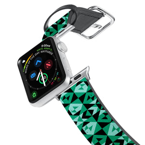 Printed Leather Apple Watch Band with Quilt Patterns design. Designed for Apple Watch Series 4,Works with all previous versions of Apple Watch.