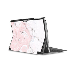 the back side of Personalized Microsoft Surface Pro and Go Case in Movie Stand View with Pink Marble design - swap