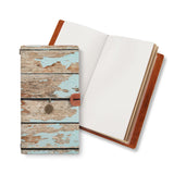 opened midori style traveler's notebook with Wood design