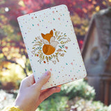 a girl holding personalized RFID blocking passport travel wallet with Fox Red design