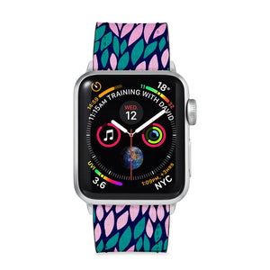 Our Printed Leather Apple Watch Band with Abstract design are made of water- and scratch-resistant saffiano leather because we know you wear your apple watch every, single, day. - swap