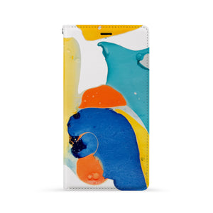 Front Side of Personalized iPhone Wallet Case with Abstract Watercolor design
