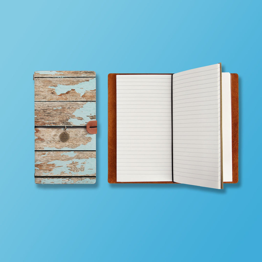the front top view of midori style traveler's notebook with Wood design