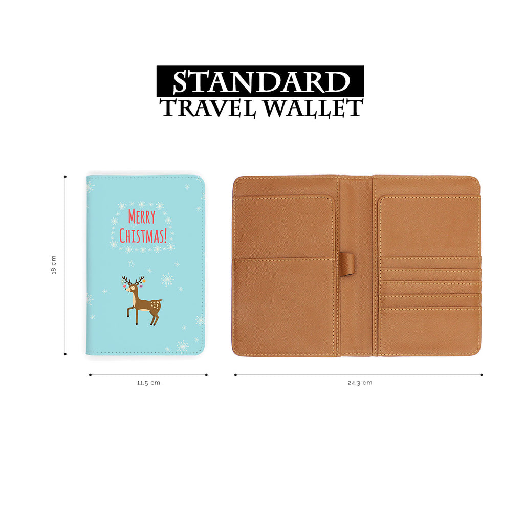 standard size of personalized RFID blocking passport travel wallet with Christmas design