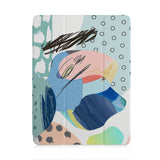 front view of personalized iPad case with pencil holder and Doodle Scribbles design