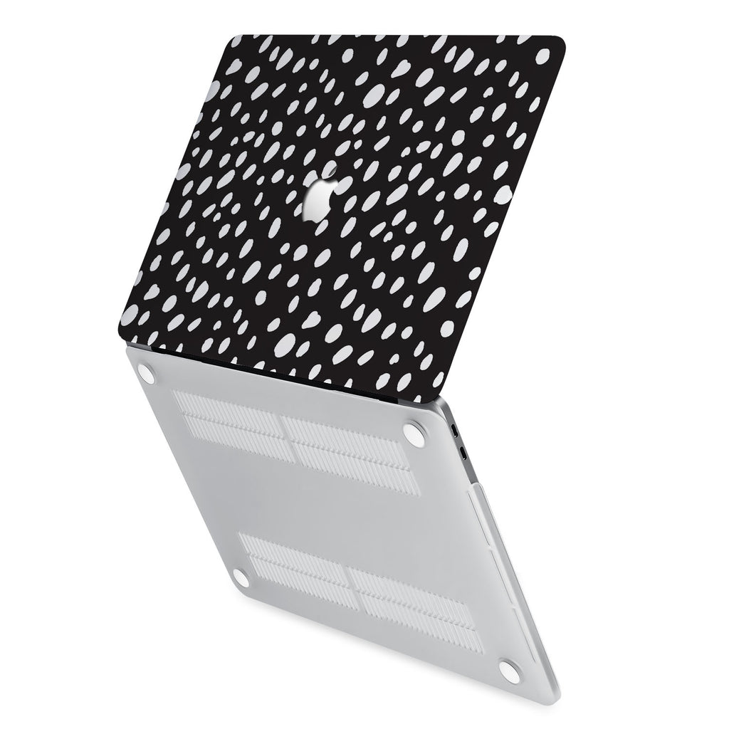 hardshell case with Polka Dot design has rubberized feet that keeps your MacBook from sliding on smooth surfaces