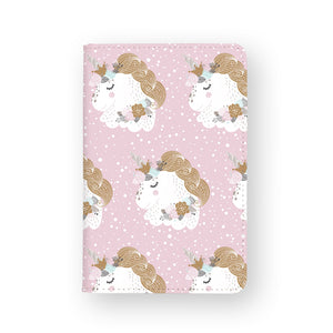 front view of personalized RFID blocking passport travel wallet with Flower Unicorn design