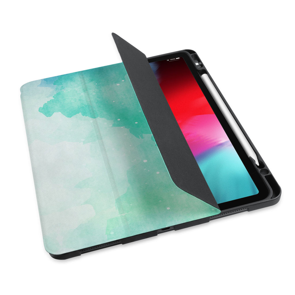 personalized iPad case with pencil holder and Abstract Watercolor Splash design - swap