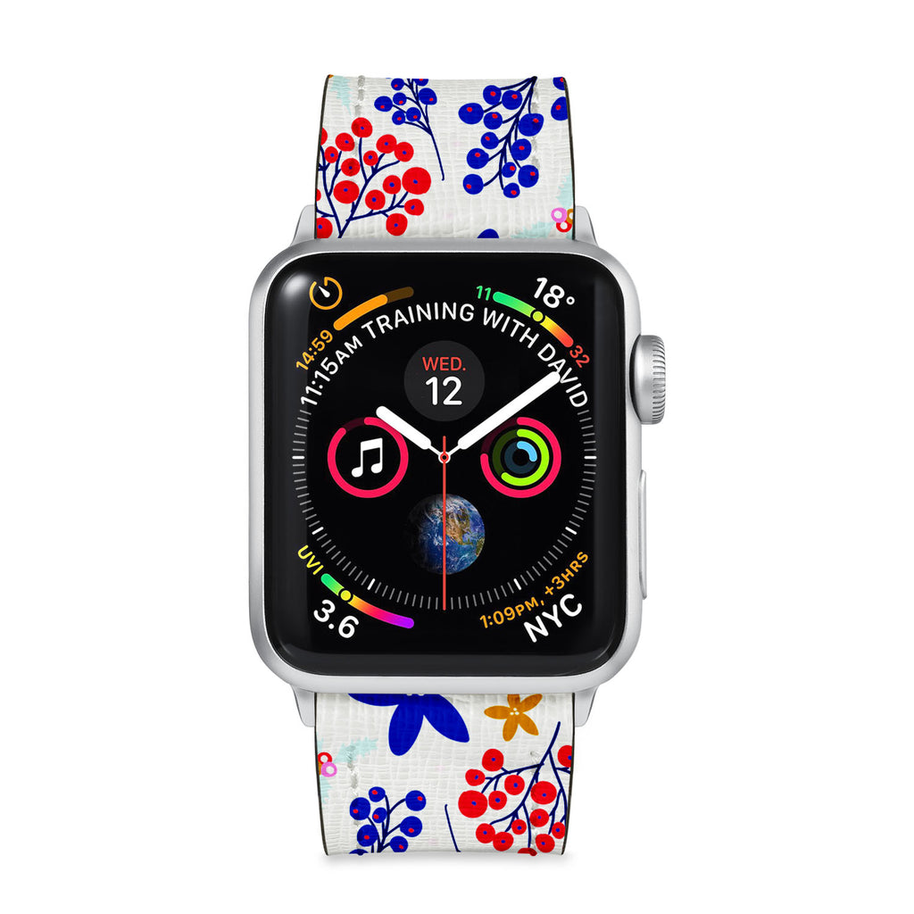 Our Printed Leather Apple Watch Band with Winter Pattern design are made of water- and scratch-resistant saffiano leather because we know you wear your apple watch every, single, day. - swap