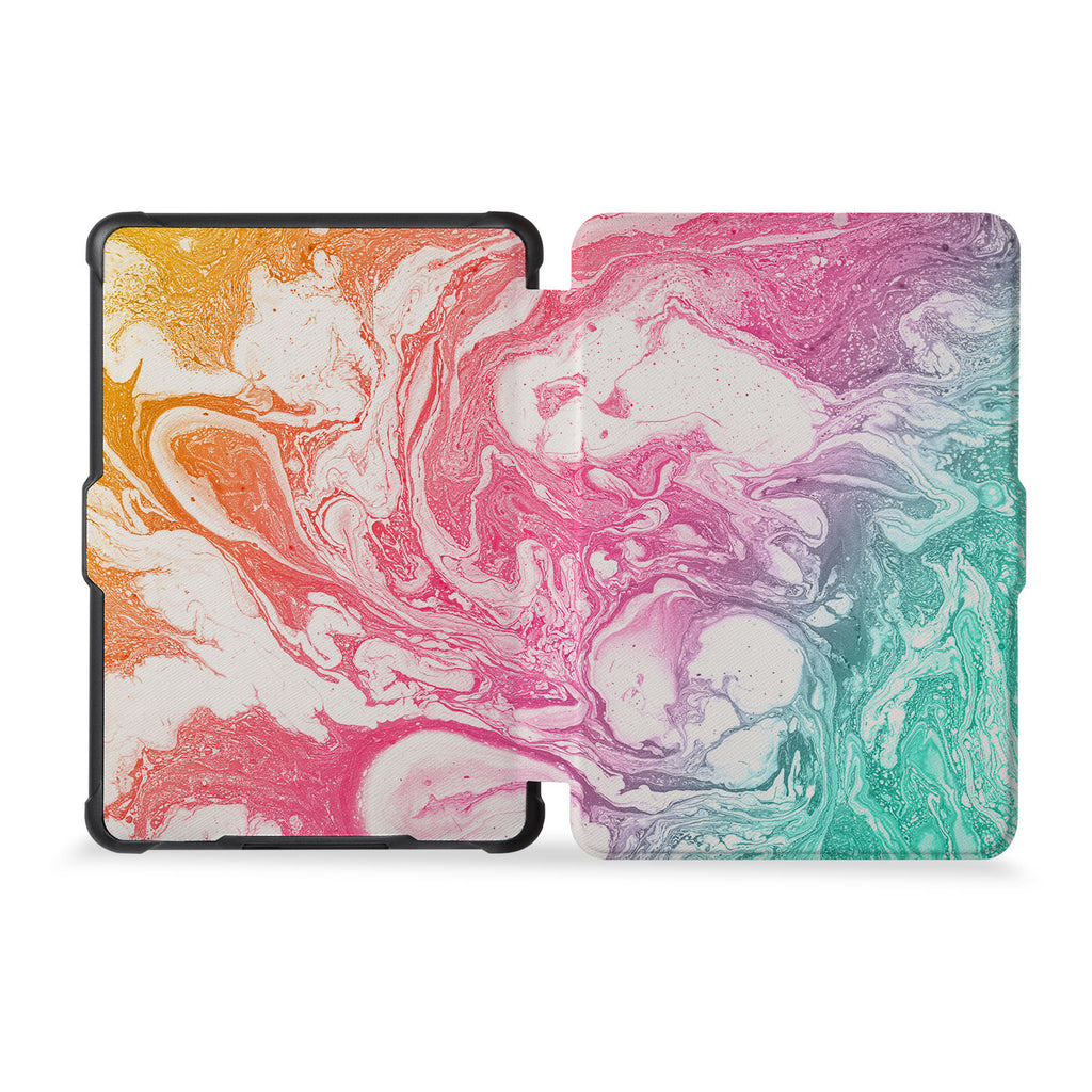 the whole front and back view of personalized kindle case paperwhite case with Abstract Oil Painting design
