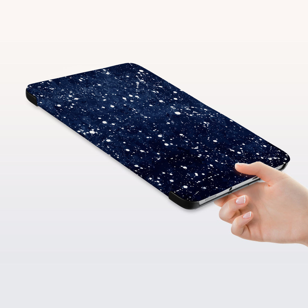 a hand is holding the Personalized Samsung Galaxy Tab Case with Galaxy Universe design