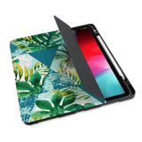 personalized iPad case with pencil holder and Tropical Leaves design - swap